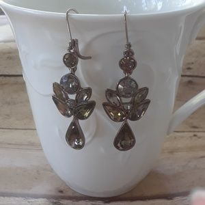 Givenchy Brown Gold Crystal Drop Dangle Earrings